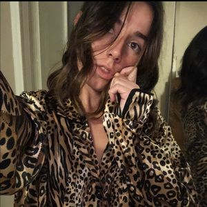 Tops - Cheetah/Tiger patterned Silk Long sleeve Button Up